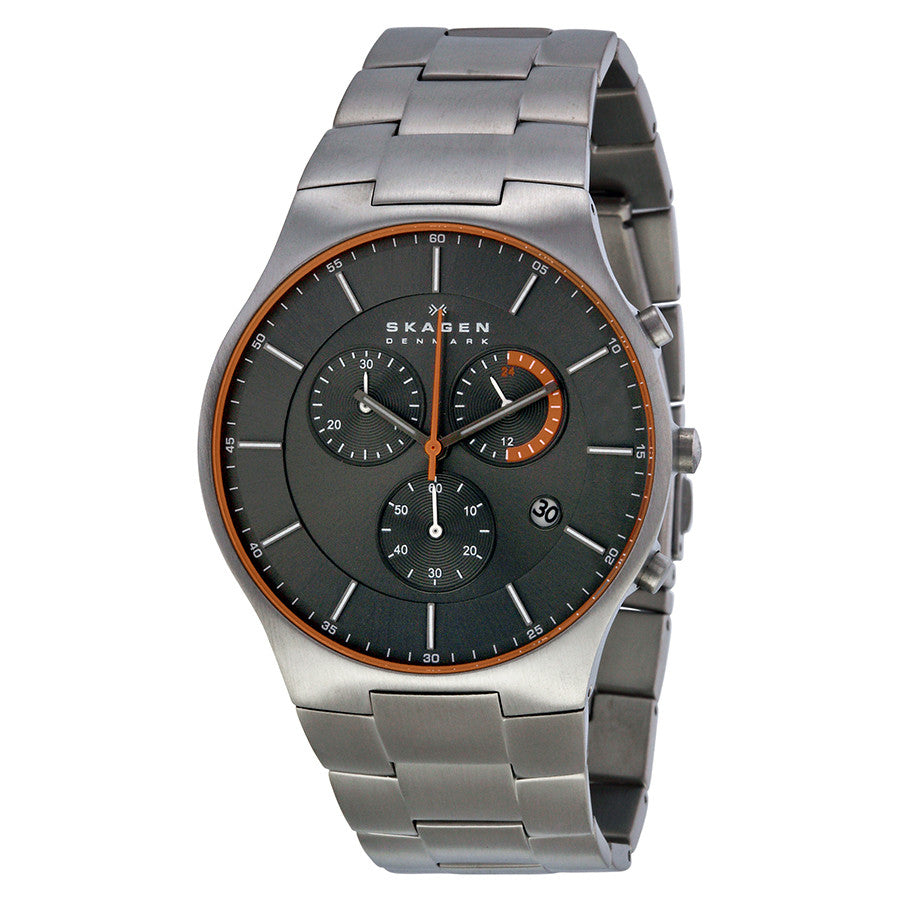 Skagen Balder Chronograph Grey Dial Titanium Men's Watch SKW6076 - The Watches Men & Co - 1
