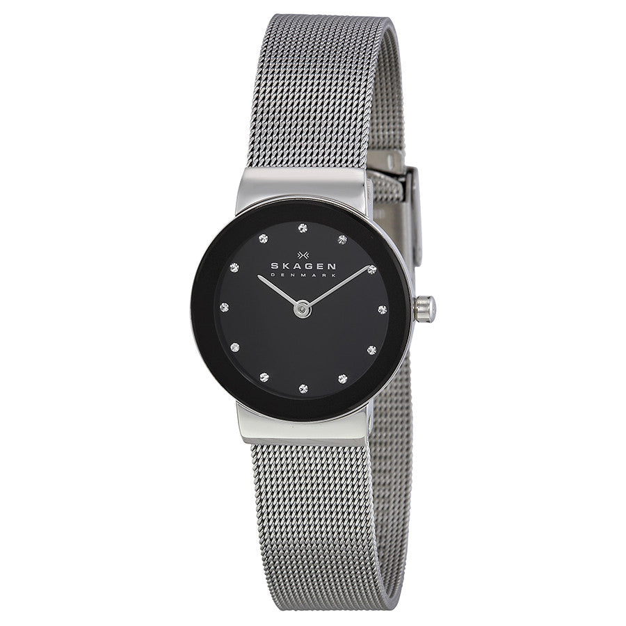 Skagen Black Dial Stainless Steel Mesh Ladies Watch 358SSBD 358SSSBD - The Watches Men & Co - 1