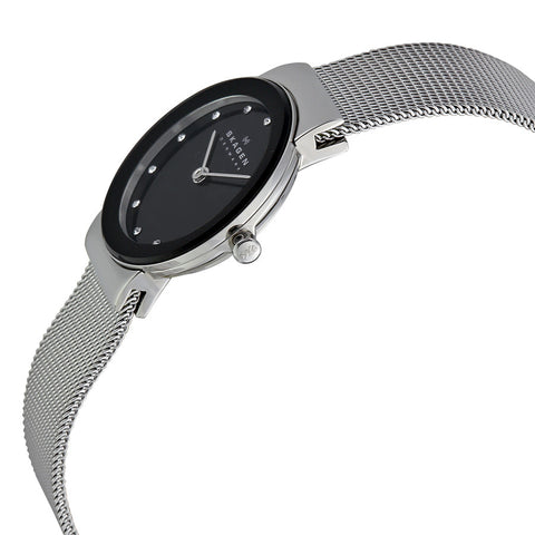 Skagen Black Dial Stainless Steel Mesh Ladies Watch 358SSBD 358SSSBD - The Watches Men & Co - 2