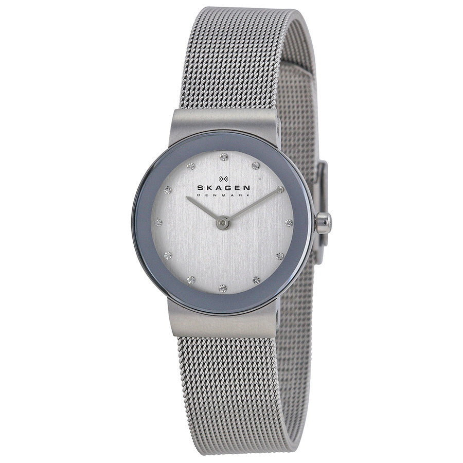 Skagen Classic Chrome Dial Mesh Ladies Watch 358SSSD - The Watches Men & Co - 1