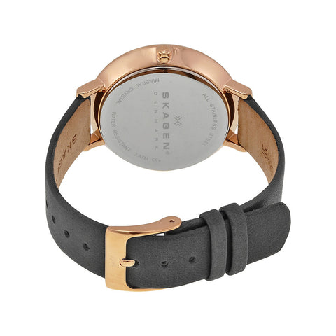 Skagen Ditte Grey Dial Grey Leather Ladies Watch SKW2216 - The Watches Men & Co - 3