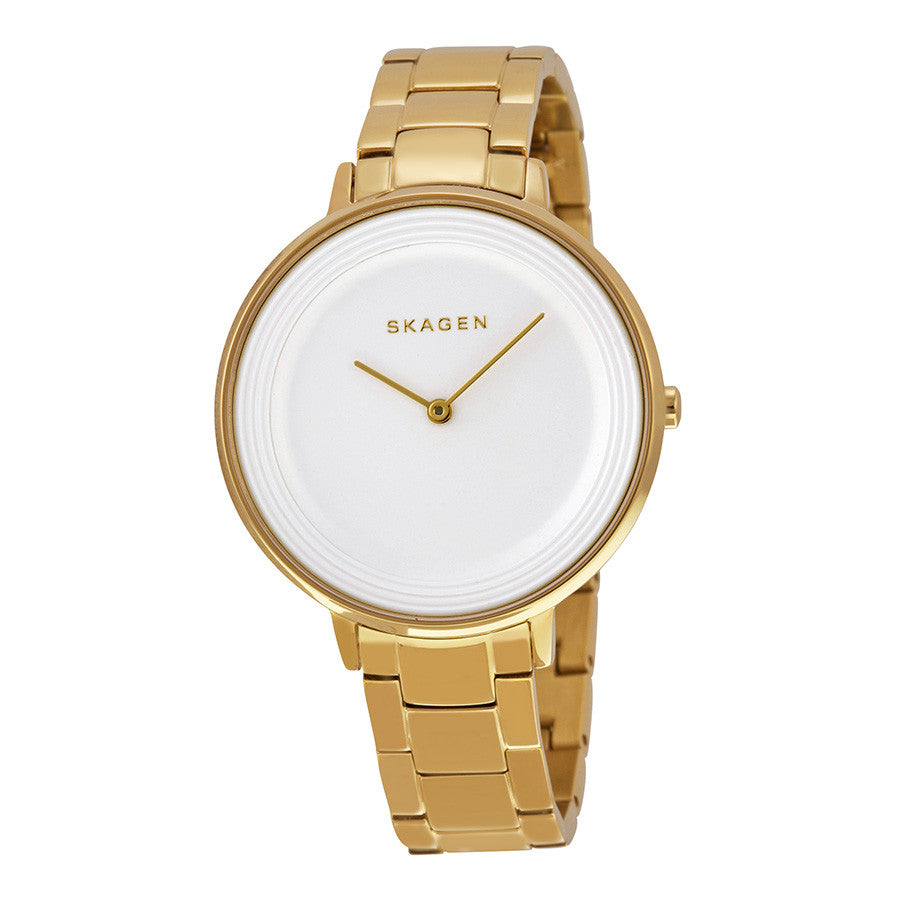 Skagen Ditte Silver Dial Gold-Tone Stainless Steel Ladies Watch SKW2330 - The Watches Men & Co - 1