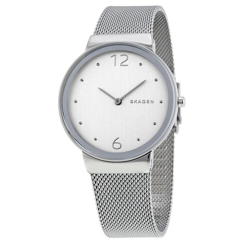 Skagen Freja Silver Dial Stainless Steel Ladies Watch SKW2380 - The Watches Men & Co - 1