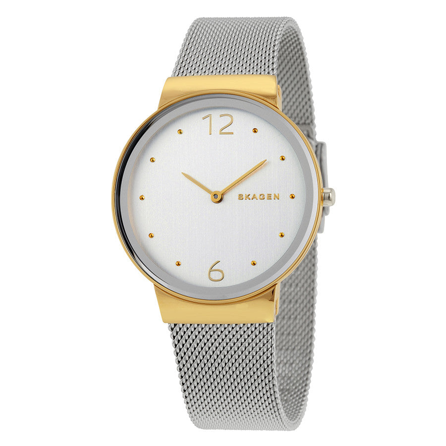 Skagen Freja Silver Dial Two Tone Ladies Watch SKW2381 - The Watches Men & Co - 1