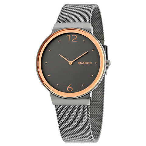 Skagen Freja Smoke Dial Two Tone Ladies Watch SKW2382 - The Watches Men & Co - 1