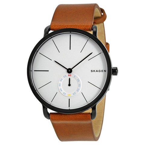 Skagen Hagen White Dial Brown Leather Men's Watch SKW6216 - The Watches Men & Co - 1