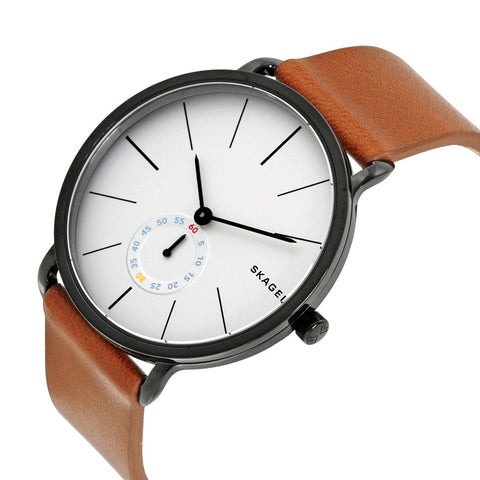 Skagen Hagen White Dial Brown Leather Men's Watch SKW6216 - The Watches Men & Co - 2