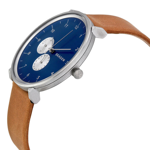 Skagen Hald Blue Dial Tan Leather Men's Watch SKW6167 - The Watches Men & Co - 2