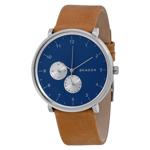 Skagen Hald Blue Dial Tan Leather Men's Watch SKW6167 - The Watches Men & Co - 1