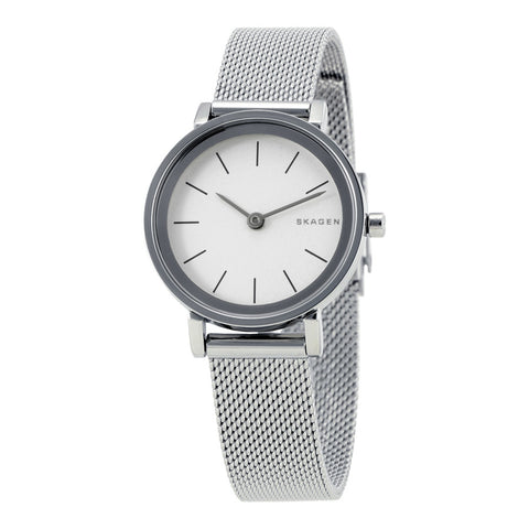Skagen Hald White Dial Stainless Steel Ladies Watch SKW2441 - The Watches Men & Co - 1