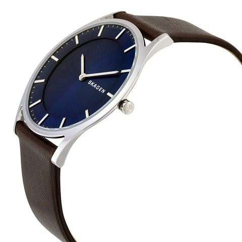 Skagen Holst Blue Dial Leather Men's Watch SKW6237 - The Watches Men & Co - 2