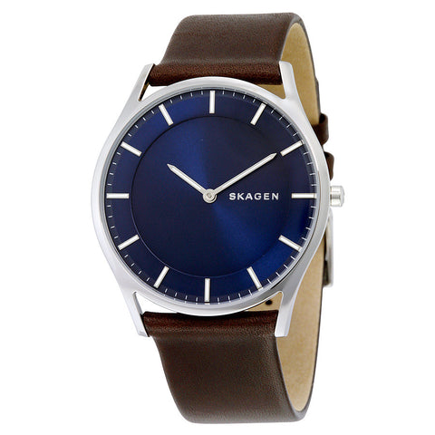 Skagen Holst Blue Dial Leather Men's Watch SKW6237 - The Watches Men & Co - 1