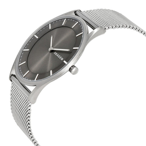 Skagen Holst Slim Gray Dial Men's Stainless Steel Mesh Watch SKW6239 - The Watches Men & Co - 2