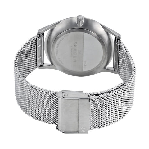 Skagen Holst Slim Gray Dial Men's Stainless Steel Mesh Watch SKW6239 - The Watches Men & Co - 3