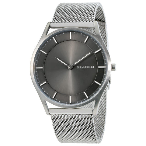 Skagen Holst Slim Gray Dial Men's Stainless Steel Mesh Watch SKW6239 - The Watches Men & Co - 1