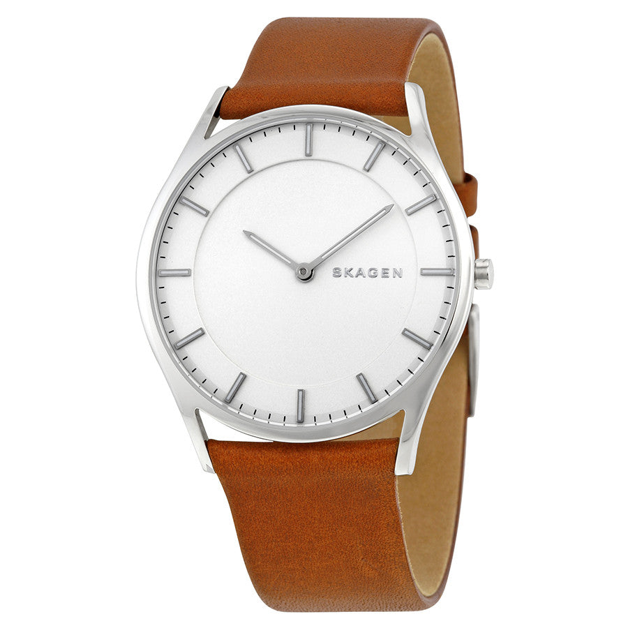 Skagen Holst White Dial Brown Leather Men's Watch SKW6219 - The Watches Men & Co - 1