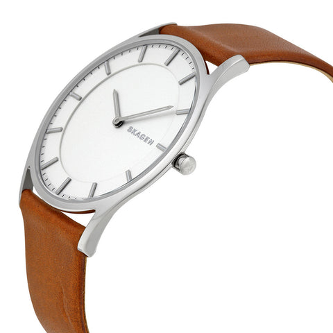 Skagen Holst White Dial Brown Leather Men's Watch SKW6219 - The Watches Men & Co - 2