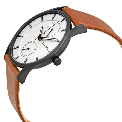 Skagen Holst White Dial Leather Men's Watch SKW6317 - The Watches Men & Co - 2