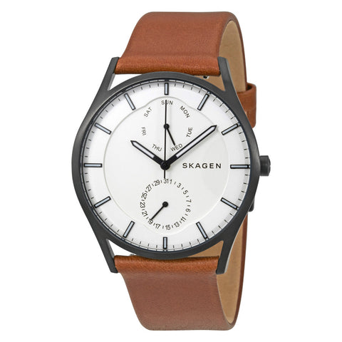 Skagen Holst White Dial Leather Men's Watch SKW6317 - The Watches Men & Co - 1
