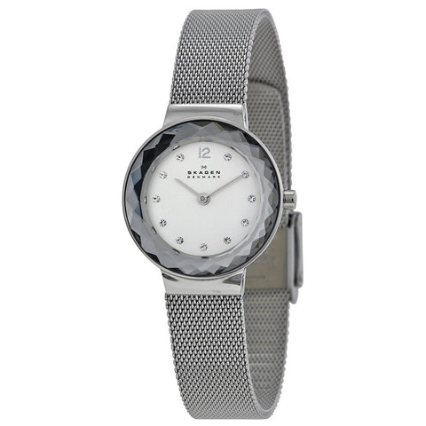 Skagen Silver Dial Stainless Steel Mesh Ladies Watch 456SSS - The Watches Men & Co - 1