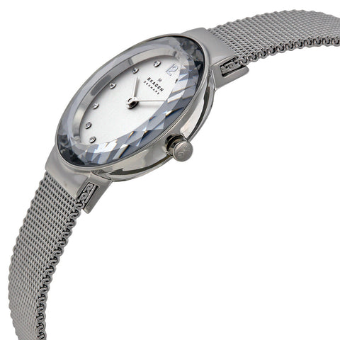 Skagen Silver Dial Stainless Steel Mesh Ladies Watch 456SSS - The Watches Men & Co - 2