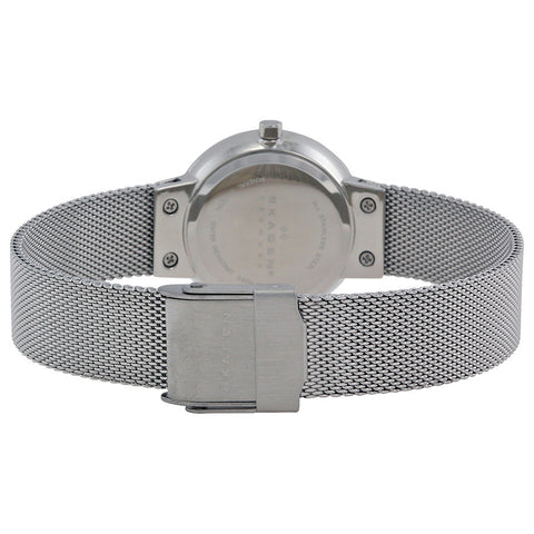 Skagen Silver Dial Stainless Steel Mesh Ladies Watch 456SSS - The Watches Men & Co - 3