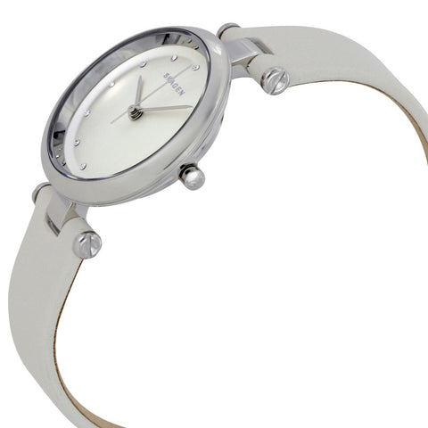 Skagen Tanja Silver Dial White Leather Ladies Watch SKW2517 - The Watches Men & Co - 2