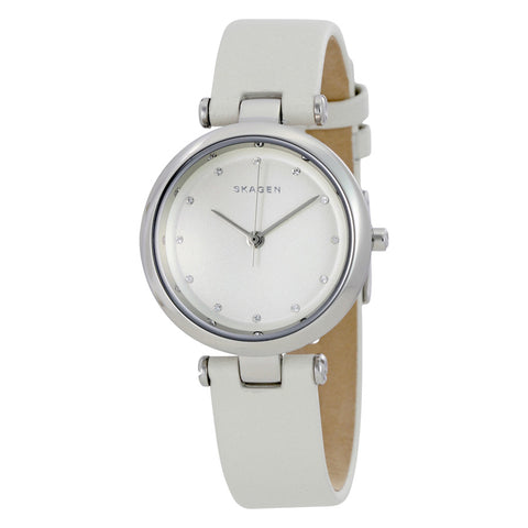 Skagen Tanja Silver Dial White Leather Ladies Watch SKW2517 - The Watches Men & Co - 1