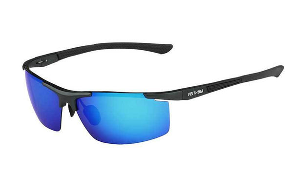 Semi Rimless Polarized Aluminum Sunglasses Blue
