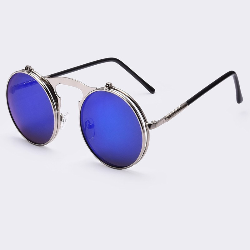 Steampunk Vintage Polarized Metal Round Flip Up  Mirrored Sunglasses - 4PointsShop