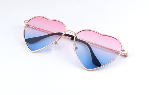 Designer Heart Shaped Metal Sunglasses Blue and Pink