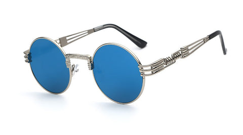 Multi-Colors Round Metal Frame Sunglasses Silver w blue- 4PointsShop