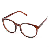 Vintage Frame Oval Clear Lens Glasses Brown