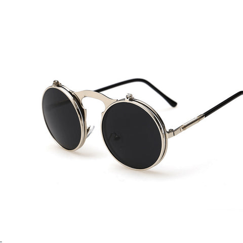 Flip-Up Round Double Lenses Sunglasses - Black