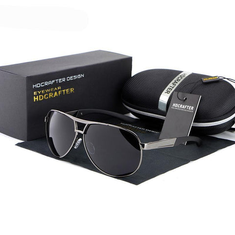 HDCrafter UV400 Sunglasses For Men With Case Box Gray