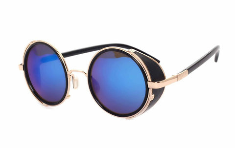Unisex Mirrored Retro Steampunk Round Sunglasses Gold - 4PointShop