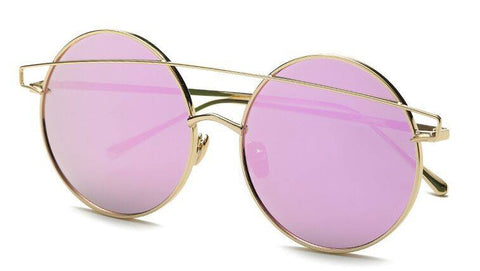 Round Oversized Mirrored Sunglasses Gold Frame Purple