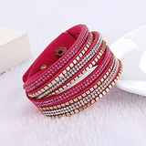 Multi-layer Rhinestone Crystal Leather Bracelet Red