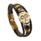 12 Personality Zodiac Signs Unisex Leather Bracelet Aries