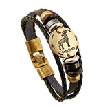 12 Personality Zodiac Signs Unisex Leather Bracelet Capricorn
