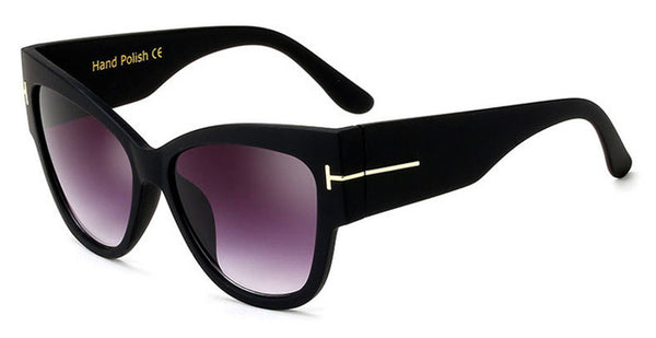 Vintage Wood Grain Frame Cat Eye Sunglasses For Women