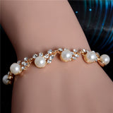 Luxury Gold Crystal Charm Pearl Beads Bracelet For Women