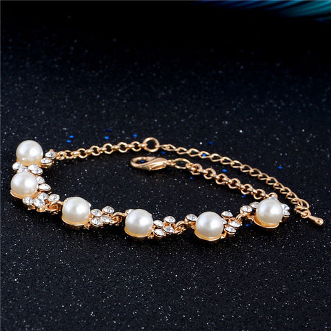 SHUANGR Fashion New Brand Design Luxury Gold-Color Charm Crystal Cubic Zircon Simulated Pearl Beads Bracelet For Women Jewelry