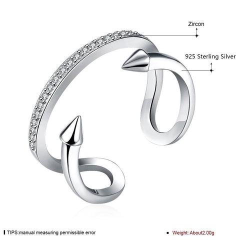 Arrow Finger Ring Real 925 Sterling Silver Lady Women Jewelry Opening Rings Clear CZ Zircon For Friendship Gifts 030