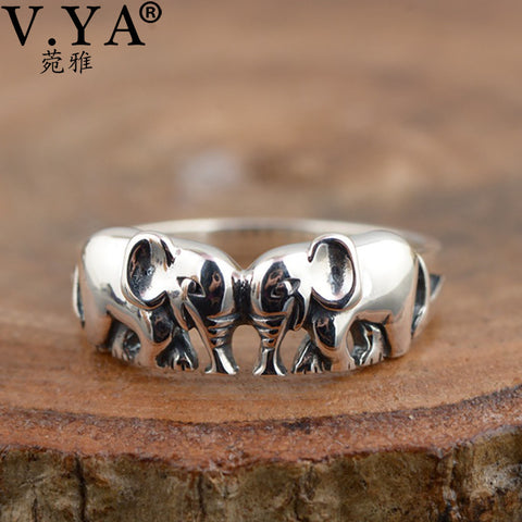 Cute Animal Elephant Rings 925 Sterling Silver Vintage Style 021