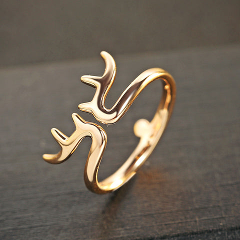 Cute Deer Rings Open Ring 925 Sterling Silver & Gold Color Finger for Women 031