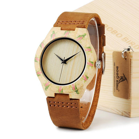 BOBO Bird Women's Top Design Brand Luxury Wooden Bamboo Dress Watch 1