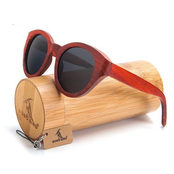 BOBO BIRD Red Wood Sunglasses Women With Box - 4PointShop