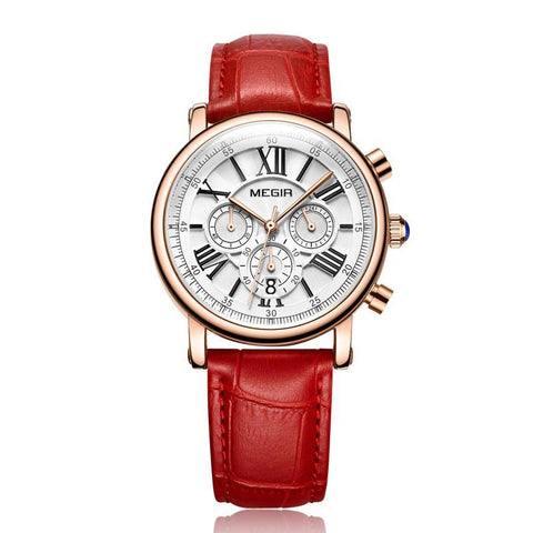 Megir Luxury Quartz Fashion Women Bracelet Watch Red Solo