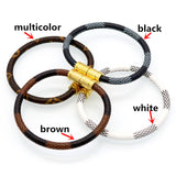 Luxury Stainless Steel Unisex Leather Bangles Black White Brown